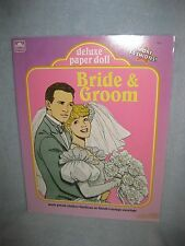 Vintage Bride & Groom Uncut Paper Doll 1990 Includes 2 Dolls and Lots of Outfits