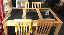 Modern Solid Oak Farmhouse Style Marble Insert Dining Table & 4 Chairs - BB4