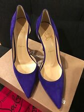 NIB Christian Louboutin Iriza 100 Purple Pop Suede D'Orsay Heel Pump Shoe 39.5