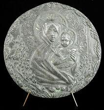 Médaillon Vierge Marie à l'enfant Jésus Madone Signorini Firenze Florence XIX th