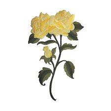 ID 5100 Large Yellow Rose Flower Plant Embroidered Iron On Applique Patch
