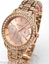 Henley Ladies Designer Watch, Sparkly Crystals, Rose Gold Tone New Season Bling