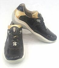 FENNIX ITALY WOMEN'S NAPPA PATENT CROC SNEAKER SHOES brown  SIZE 8