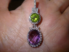 Nice 14k diamond peridot amethyst pendant necklace...Gorgeous!