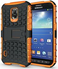 NEON ORANGE GRENADE TPU SKIN HARD CASE COVER STAND FOR SAMSUNG GALAXY S5 ACTIVE