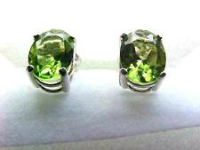 Peridot  Natural Color 2.70ct Pair of Earrings 925 Sterling Silver 8X6mm Oval