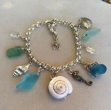 Beach charm bracelet with Herkimer diamonds and real sea glass