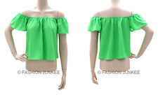 CC1 LIME GREEN CROPPED PEASANT TOP Off the Shoulder Short Sleeve Shirt Boho 2XL