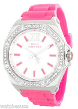 Juicy Couture Chelsea Silver Dial Hot Pink Silicone Jelly Strap Watch 1901033