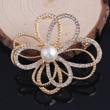 New Fashion Gold solid Flower Cluster Cz Wedding Party Women Brooch Pin Crystal