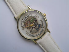 New Harry Potter Hogwarts  Gold  Faced Quartz Watch White Leather Strap