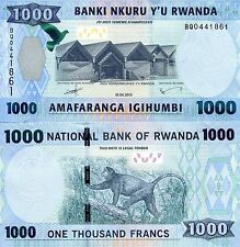 RWANDA 1000 Francs Banknote World Paper Money UNC Currency p39a African Monkey