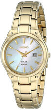 Seiko Women's Solar Powered 100m Gold Tone Stainless Steel Watch SUT130