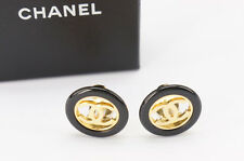 Auth CHANEL Earrings Clips '97/A Made in France w/case Free Shipping 668r23