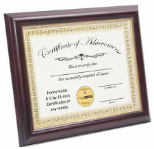 Mahogany W/ Gold Inlay 8.5x11 Certificate Frame W/ Stand and Wall Hanger