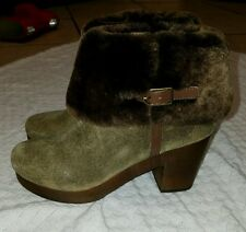 ANTHROPOLOGIE Faryl Robin Seth Green Faux Fur Clog Booties Ankle Boots WOMENS 7