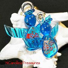 CHRISTMAS ANGEL BLUE HOLIDAY MURANO GLASS CEILING FAN LIGHT SWITCH PULLS PAIR