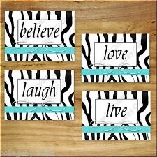 Turquoise Zebra Wall Art Prints Decor Girls Teen Dorm Live Laugh Love Believe