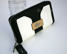 NWT GUESS Women's Belvedere SLG Zip Around Clutch Wallet / Black & White
