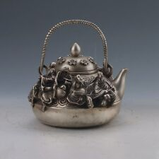 Chinese Tibetan silver Hand-carved  Eight Immortals Teapot W Ming XuanDe gd6956