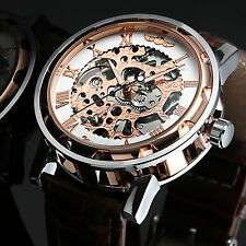 Brown Artificial Leather Skeleton Rose Golden Automatic Mechanical Mens Watch