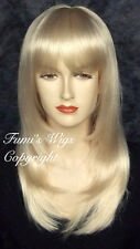 Amazing Quality Pale Blonde Wig With Natural Looking Layered Straight Cutting