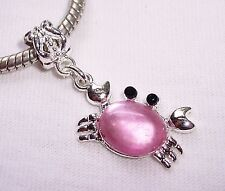 Pink Gemstone Beach Theme Sea Life Crab Dangle Bead for European Charm Bracelets