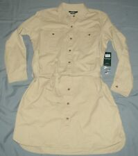 NEW Ralph Lauren Women's Military Safari Beige Twill Shirt Dress Sz XL Ret $125