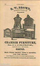 1876 ADVERT S W Brown Boston Bedroom Chamber Furniture Bunker Hill 40 Chapman St