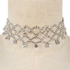 "12"" silver crystal fish scale drape choker bib collar necklace 1.25"" wide bridal"