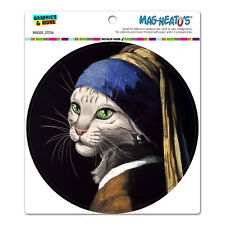 The Cat with Pearl Earring Girl Parody Vermeer Circle - MAG-NEATO'S™ Car Magnet