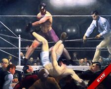 BOXING RING LEGEND JACK DEMPSEY V FIRPO PUNCH OIL PAINTING ART REAL CANVAS PRINT