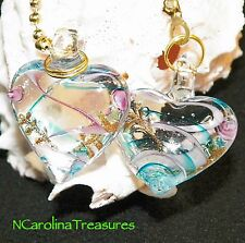 GLASS CEILING FAN CHAIN LIGHT SWITCH PULL HEART BLUE AQUA PINK CLEAR LARGE PAIR