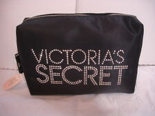 VICTORIA'S SECRET LARGE BLACK COSMETIC MAKE-UP BAG WITH SILVER STUDS-TRAVEL CASE
