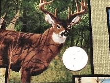 Fabric Whitetail Deer Ridge Hunter Patchwork on Green Cotton by the 1/4 yard