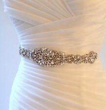 Bridal Wedding Rhinestone Crystal Encrusted Diamante Sash Dress Ivory Belt