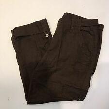 Tommy Hilfiger Womens Brown Linen Cotton Tabbed Cargo Cropped Capri Pants 8 MINT