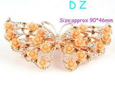 t614503 Fashion Butterfly Brown Crystal Rhinestone Barrette Hair Clip Hairpin