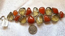 NWT Wide Citrine & Carnelian Natural Gemstones Sterling Silver Panel Bracelet