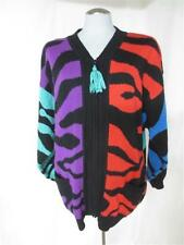 Vtg Obermeyer Bold Colorful Safari Print Oversized Slouch Cardigan Sweater Large