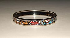 Authentic HERMÈS Narrow Printed Enamel Silver Bangle Bracelet