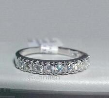 925 STERLING SILVER 3mm round HALF ETERNITY RING SIZE 10