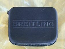 BREITLING SEMI RIGID BLACK ZIPPERED WATCH BOX STORAGE CASE W/ FOAM INTERIOR PAD