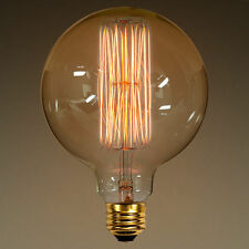 "5"" LARGE Edison Style E26 Squirrel Cage Filament G40 Globe Light Bulb 40w"