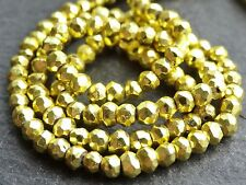 "HAND FACETED YELLOW COLOUR COATED PYRITE RONDELLES, 3.5mm / 4mm, 13"", 115 beads"