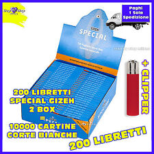 Cartine GIZEH special CORTE Bianche extra fine 2 box  200 pz Accendino CLIPPER