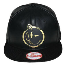 New Era YUMS Custom Metal Face Black/Gold Leather/Suede Snapback 12MF