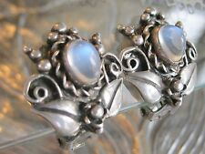 ANTIQUE MOONSTONE CABOCHON CAST 925 STERLING SILVER CLIP BACK FLOWER EARRINGS