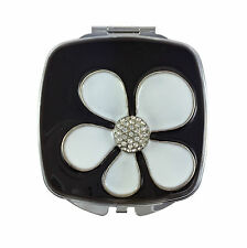 Compact Mirror, Flower Power Square with Swarovski Crystals & Leather Pouch
