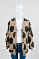 Each x Other NWOT $600 Camel and Black Wool Cashmere Polka Dot LS Cardigan SZ S